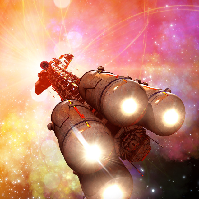 """""""Space craft in outer space, illustration"""" stock image"""