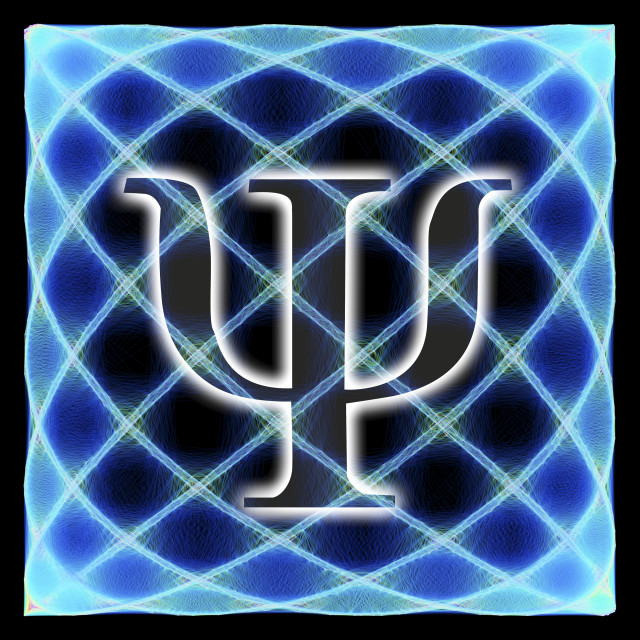 """""""Psi symbol and artwork of a wavefunction"""" stock image"""