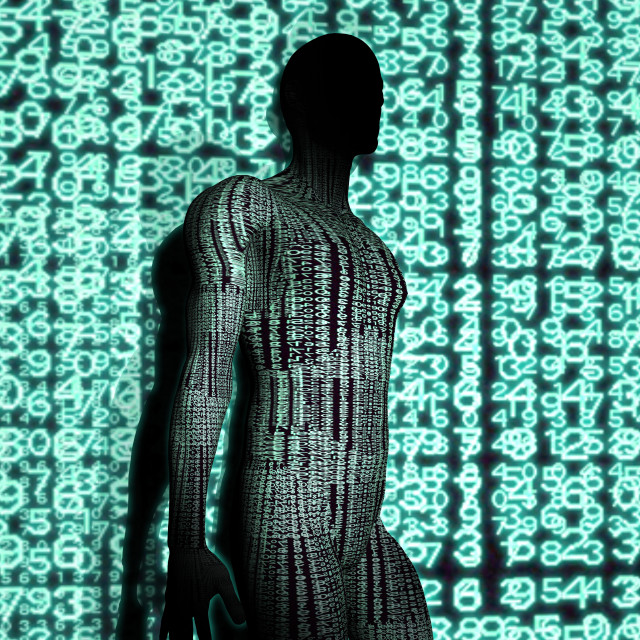 """""""Person with binary code, illustration"""" stock image"""