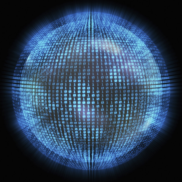 """""""Binary code on a sphere, illustration"""" stock image"""