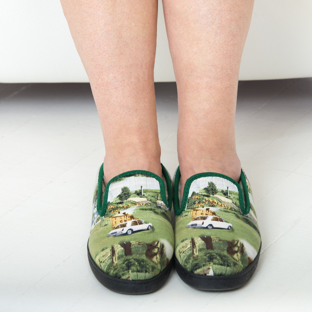 """""""Person wearing slippers"""" stock image"""