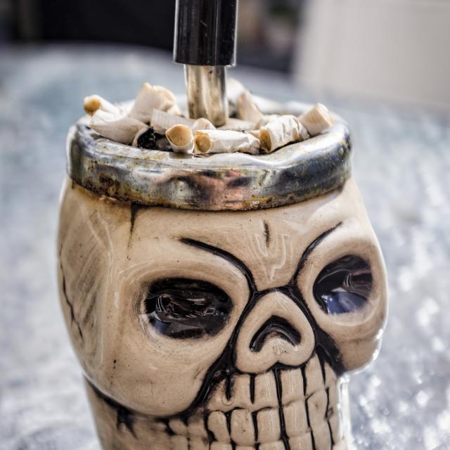 """""""Skull Shaped Ashtray"""" stock image"""