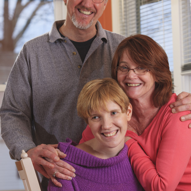 """""""Visually impaired woman with her parents"""" stock image"""