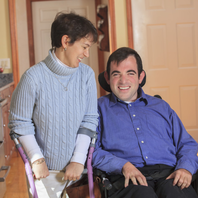 """Disabled couple in accessible kitchen"" stock image"