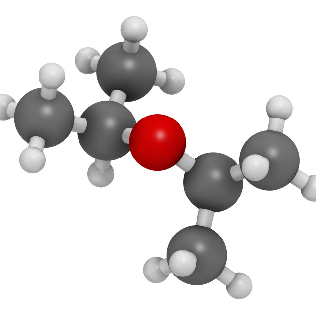 """Diisopropyl ether solvent molecule"" stock image"
