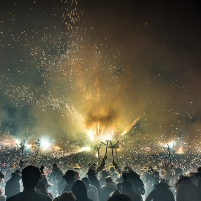 """crazy scene in Barcelona (Spain), at a festival."" stock image"