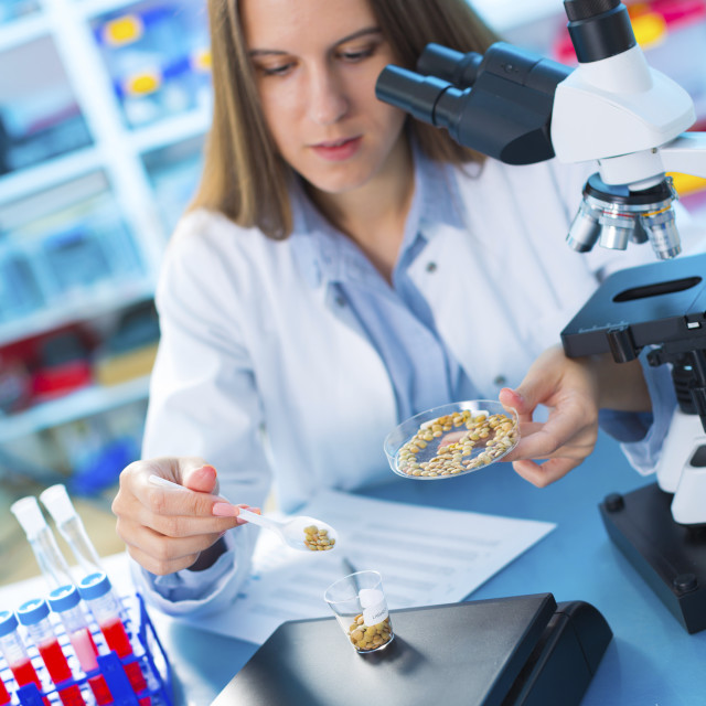 """Lab technician weighing food samples"" stock image"