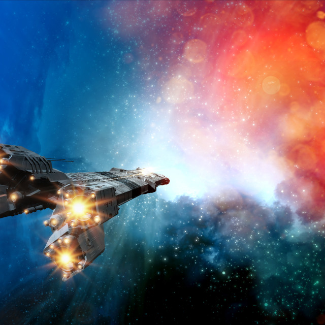 """Space craft in outer space, illustration"" stock image"