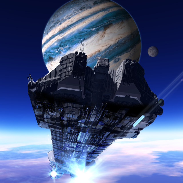 """""""Space ship and planet, illustration"""" stock image"""