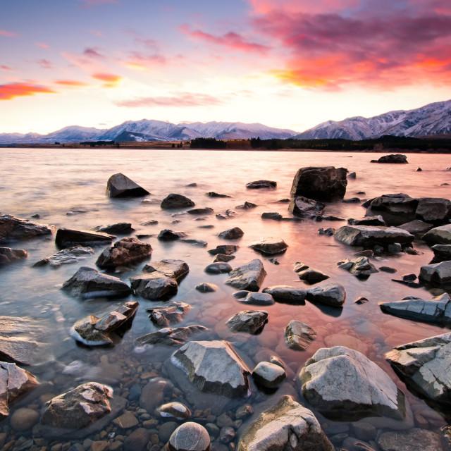 """""""Sunrise at Lake Tekapo in South Island New Zealand."""" stock image"""