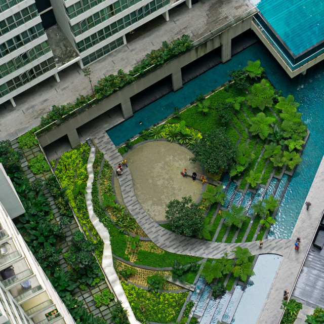 """""""Aerial view of beautiful tropical landscaped garden"""" stock image"""