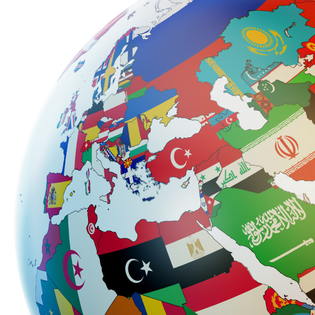 """Globe with national flags, illustration"" stock image"