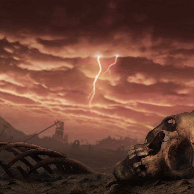 """""""Illustration of a Post-Apocalyptic Earth"""" stock image"""