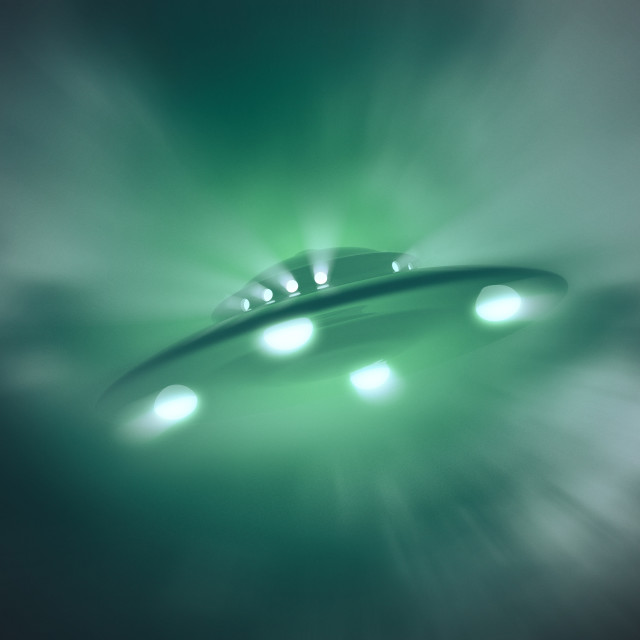 """""""Artwork of unidentified flying object"""" stock image"""