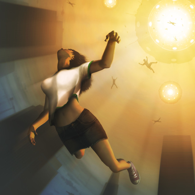 """""""People being abducted by a UFO"""" stock image"""
