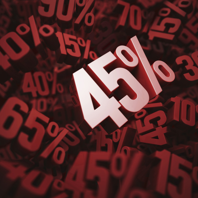 """45 per cent discount, illustration"" stock image"