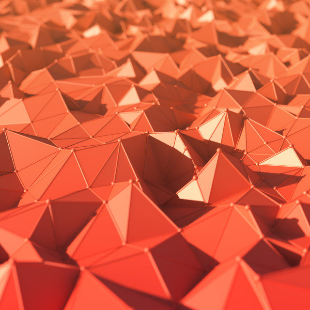 """""""Red geometric three dimensional shapes"""" stock image"""