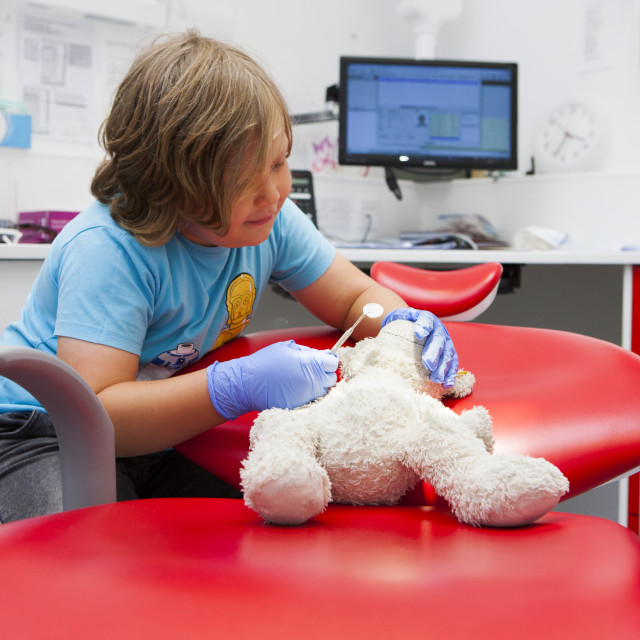"""Child at dentist's"" stock image"