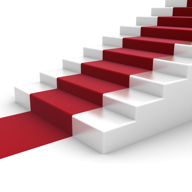 """""""White steps with red carpet"""" stock image"""