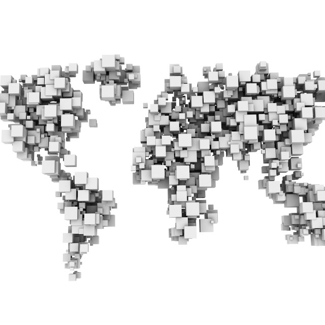 """""""World map made from white cubes"""" stock image"""