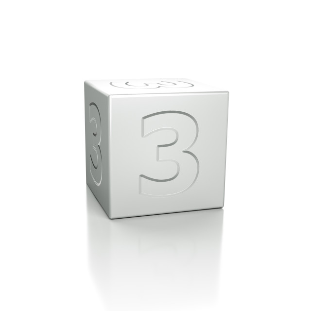 """""""Cube with the number 3 embossed"""" stock image"""