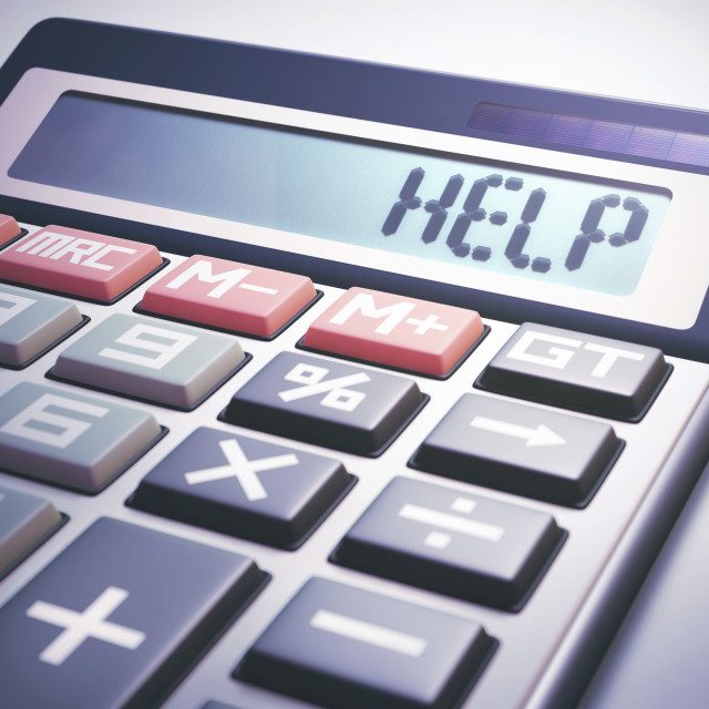 """""""Calculator with help"""" stock image"""