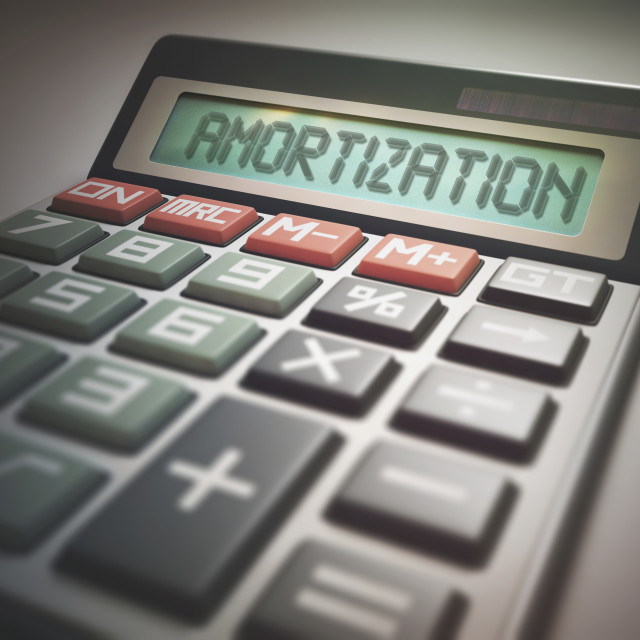 """""""Calculator with amortization"""" stock image"""