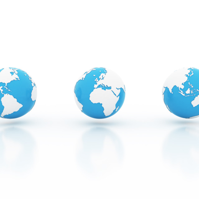 """""""Three blue and white globes"""" stock image"""