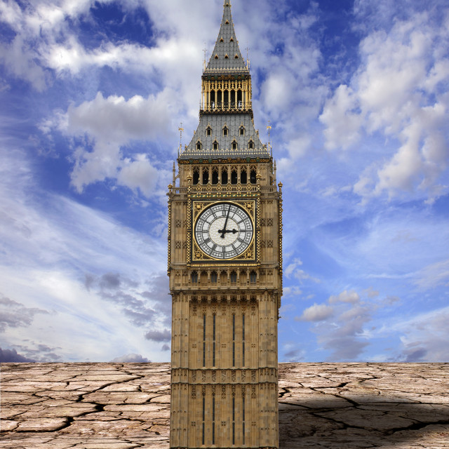 """""""Houses of parliament and cracked earth"""" stock image"""