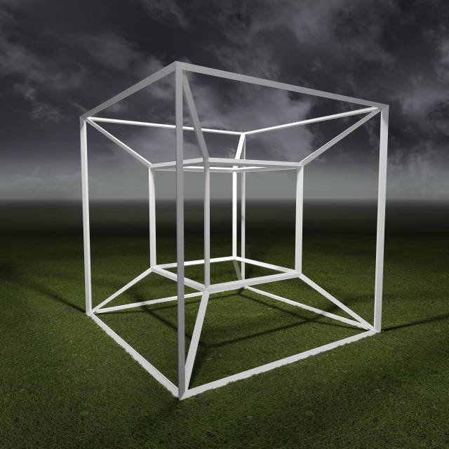 """""""Tesseract, 4 dimensional space"""" stock image"""