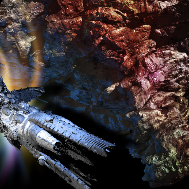 """Space ship and asteroid, illustration"" stock image"