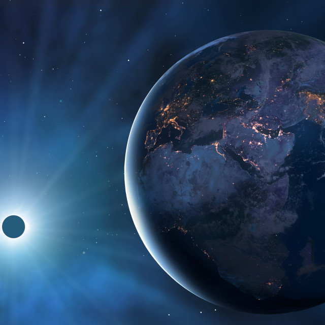 """""""Eclipse From Space - Africa, Europe, Asia"""" stock image"""