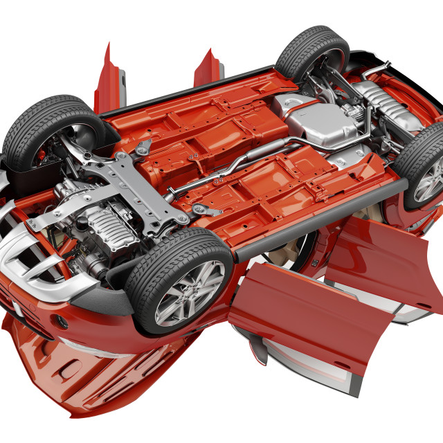 """""""Car viewed from below, illustration"""" stock image"""
