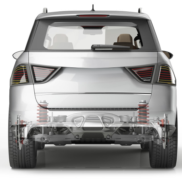 """""""Car viewed from the rear, illustration"""" stock image"""