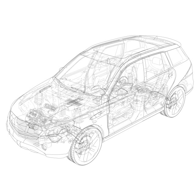 """""""Technical drawing of car, illustration"""" stock image"""
