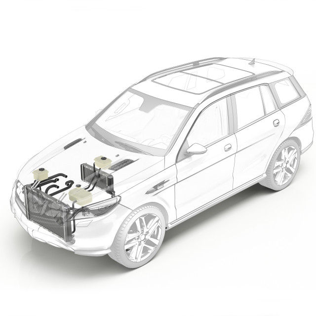 """""""Technical drawing of cooling system in car, illustration"""" stock image"""