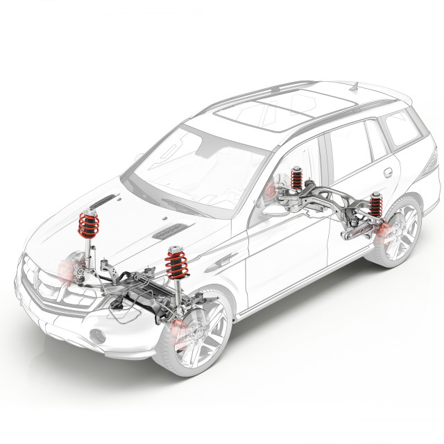 """""""Technical drawing of car suspension, illustration"""" stock image"""