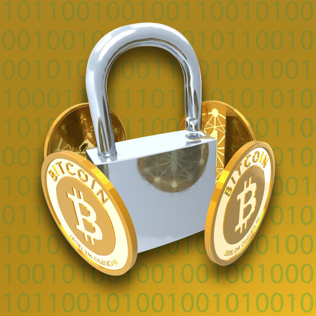 """Bitcoins and padlock, illustration"" stock image"