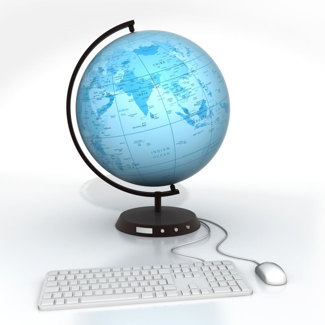 """""""Conceptual illustration of global communications"""" stock image"""