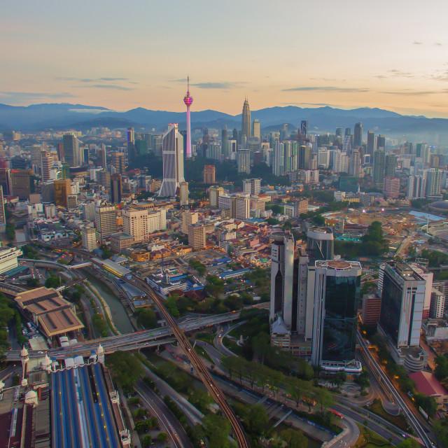 """Aerial Drone View of Sunrise at Kuala Lumpur city skyline"" stock image"