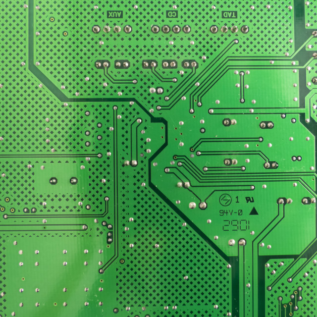 """""""Green circuit board as a structural background"""" stock image"""