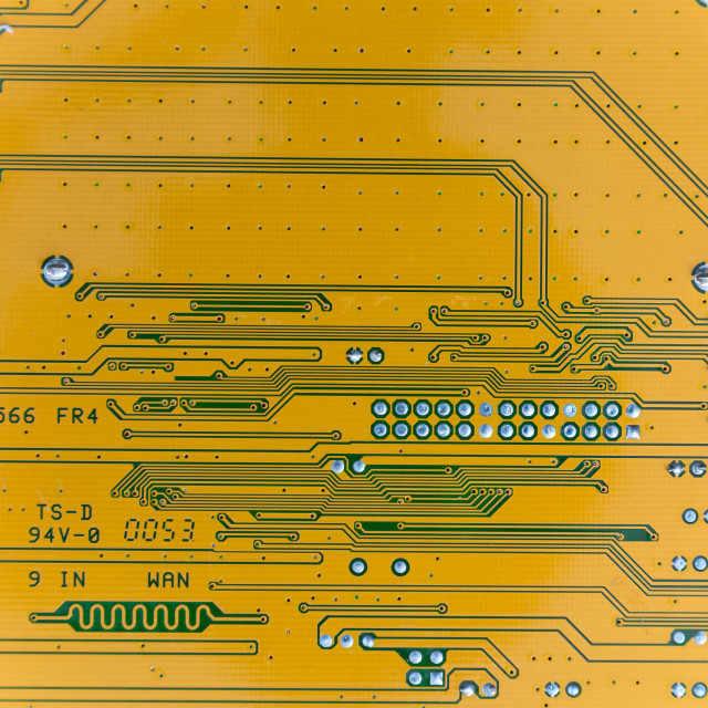 """""""Yellow circuit board as a background structure"""" stock image"""