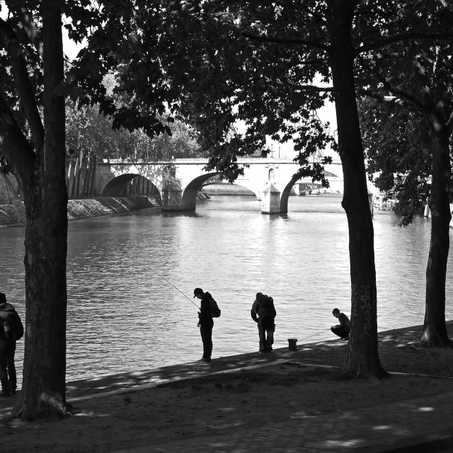 """Fishermen of the River Seine"" stock image"