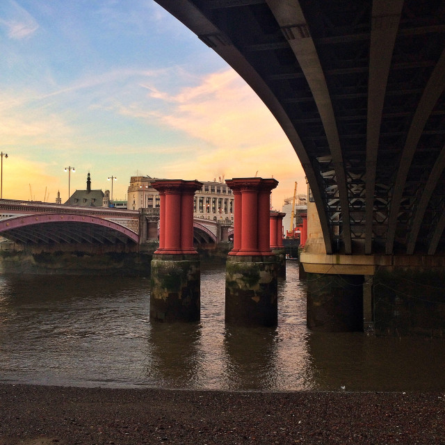 """""""Pillars in the Thames"""" stock image"""