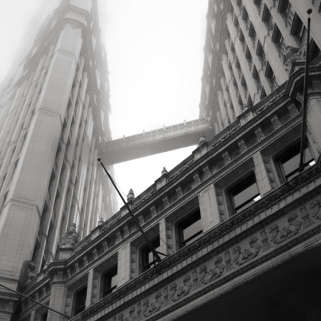 """Wrigley Building in fog"" stock image"