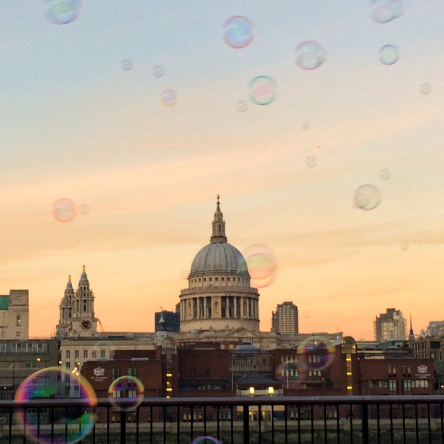"""""""Bubbles and St. Paul's"""" stock image"""