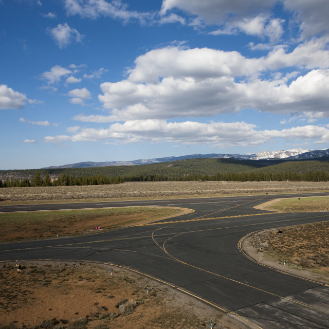 """""""View Of The Taxi Way And Runway At The Truckee Tahoe Airport, California, USA"""" stock image"""