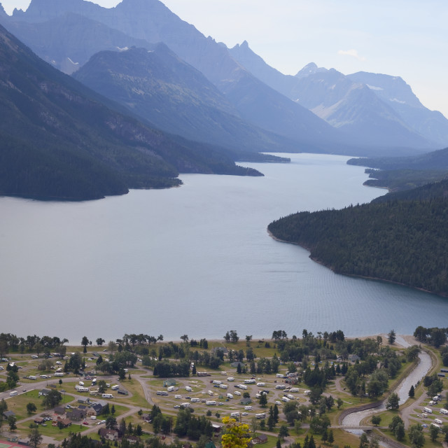 """View Of Waterton Townsight From The Destination Point Of Bear's Hump Trail;..."" stock image"