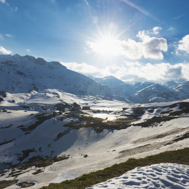 """Sunlight Shining On The Mountains At A High Elevation; San Gottardo, Ticino,..."" stock image"