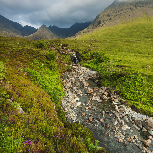 """""""Waterfall In Coire Na Creiche (The Fairy Pools) Near Glen Brittle With The..."""" stock image"""